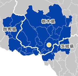 栃木県、群馬県、茨城県の地図